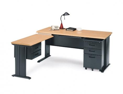 CD辦公L型桌 黑腳(含側桌+吊櫃)
